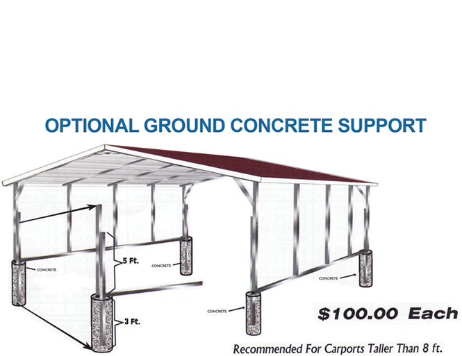 Metal Carport Extensions : Steel building upgrades such as leg extensions sides to